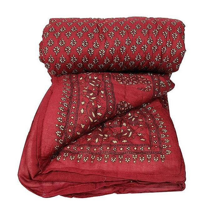 Jaipuri Print Single Cotton Bed Razai /Quilt in Red