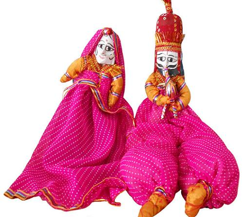 Rajasthani Puppet in Red-Pink