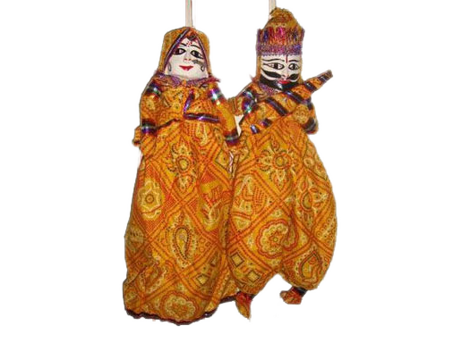 Rajasthani Puppets in Yellow Colour